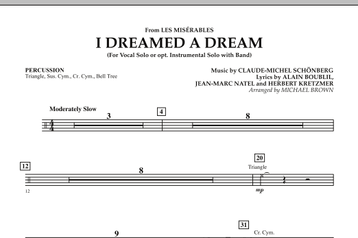 """I Dreamed a Dream (from """"Les Miserables"""") - Percussion (Concert Band)"""