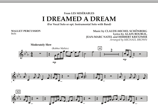 """I Dreamed a Dream (from """"Les Miserables"""") - Mallet Percussion (Concert Band)"""