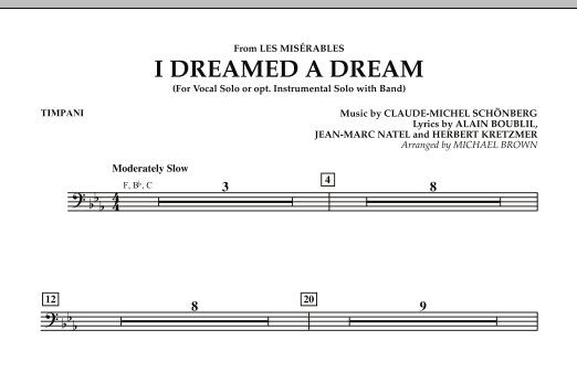 """I Dreamed a Dream (from """"Les Miserables"""") - Timpani (Concert Band)"""
