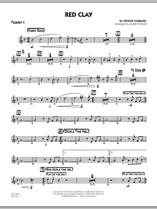 Red Clay - Trumpet 4 (Jazz Ensemble)