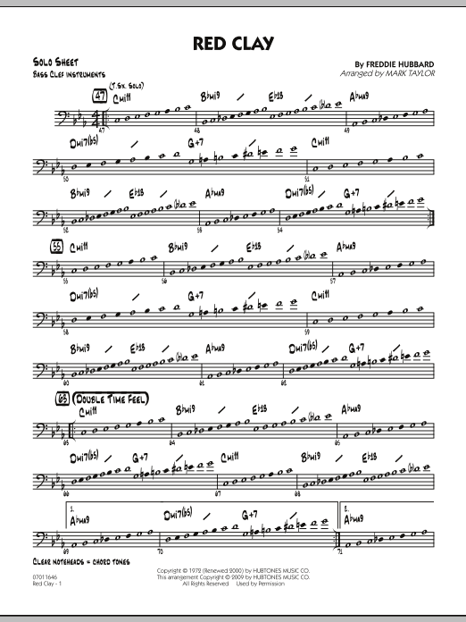 Red Clay - Bass Clef Solo Sheet (Jazz Ensemble)