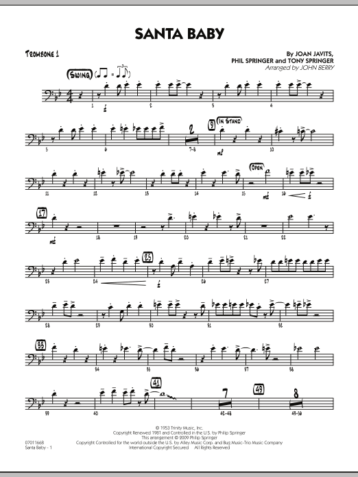 Santa Baby - Trombone 1 (Jazz Ensemble)