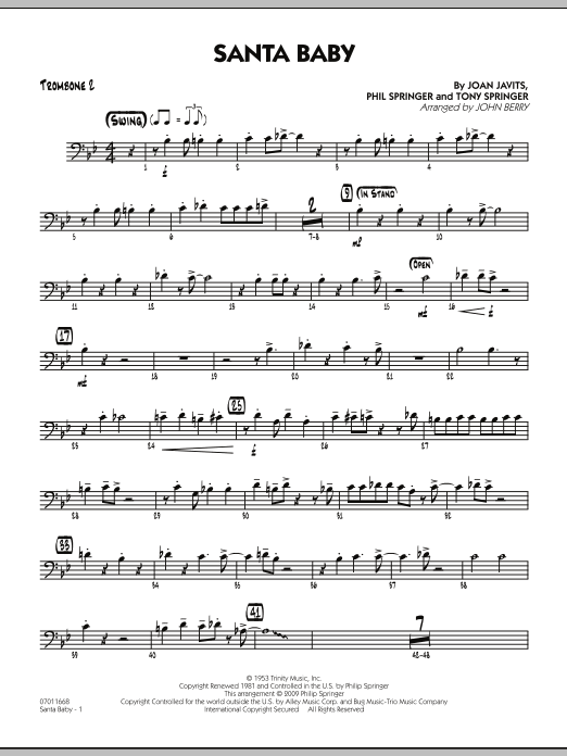 Santa Baby - Trombone 2 (Jazz Ensemble)