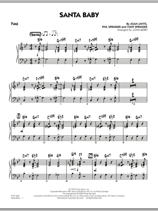 Santa Baby - Piano (Jazz Ensemble)