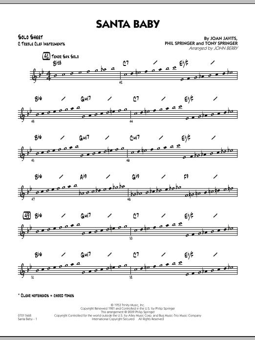 Santa Baby - C Solo Sheet (Jazz Ensemble)