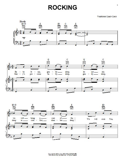 Partition piano Rocking de Traditional - Piano Voix Guitare (Mélodie Main Droite)
