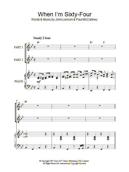 When I'm Sixty-Four (arr. Rick Hein) (2-Part Choir)