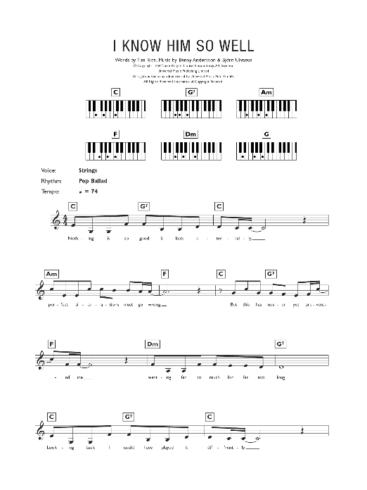 I Know Him So Well (from Chess) (Piano Chords/Lyrics)