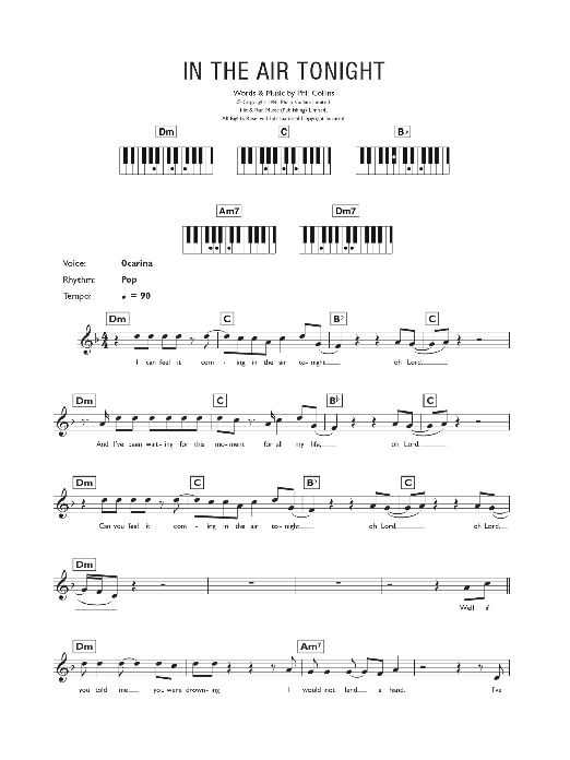 In The Air Tonight Sheet Music