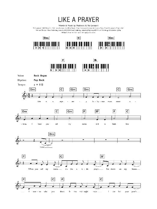 Like A Prayer (Piano Chords/Lyrics)