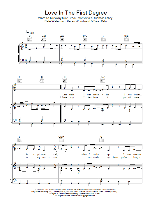 Love In The First Degree Sheet Music