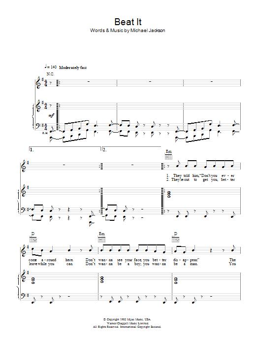 Beat It (Piano, Vocal & Guitar)