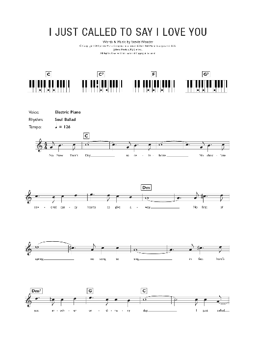 I Just Called To Say I Love You Sheet Music Stevie Wonder Keyboard