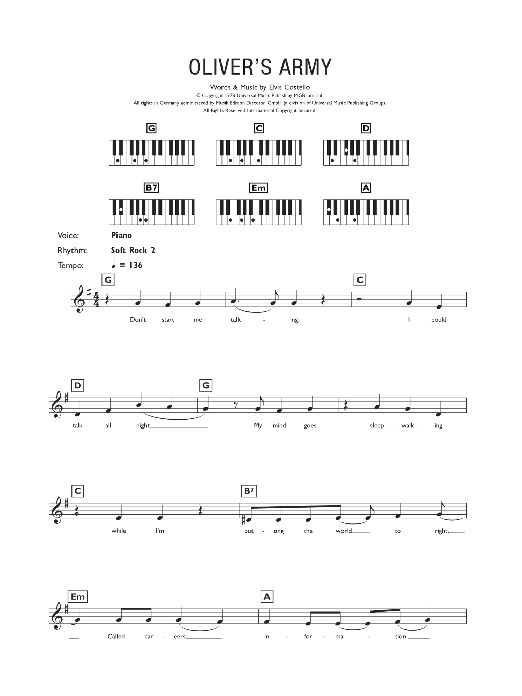 Oliver's Army Sheet Music