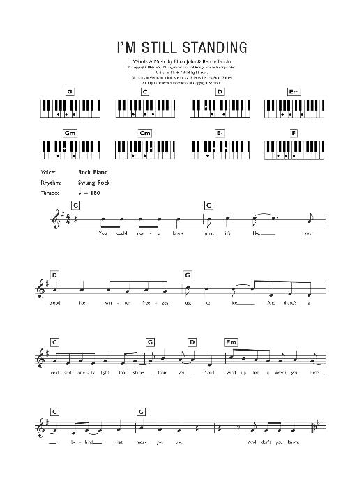 I'm Still Standing (Piano Chords/Lyrics)