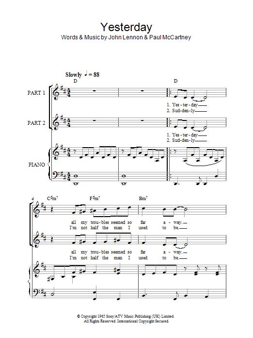 Yesterday (arr. Rick Hein) (2-Part Choir)