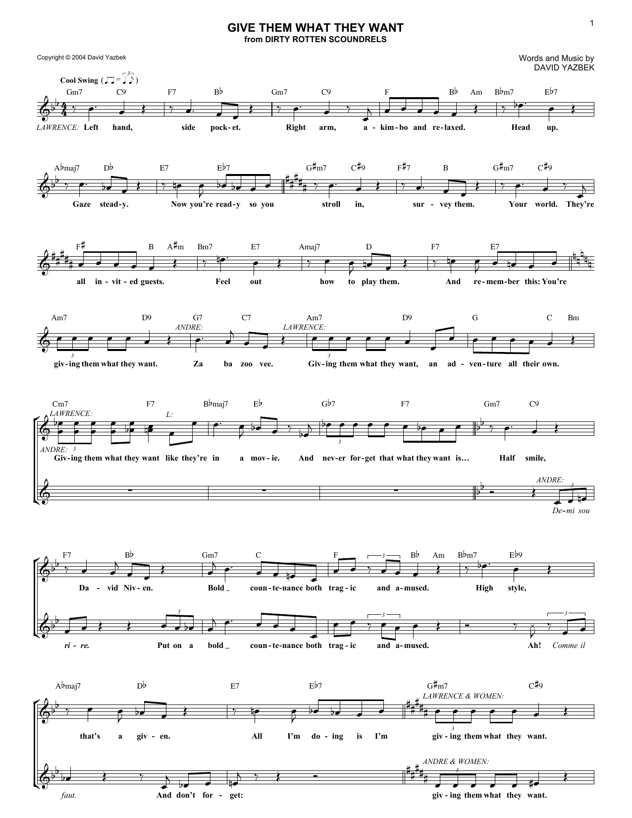 Give Them What They Want (Lead Sheet / Fake Book)