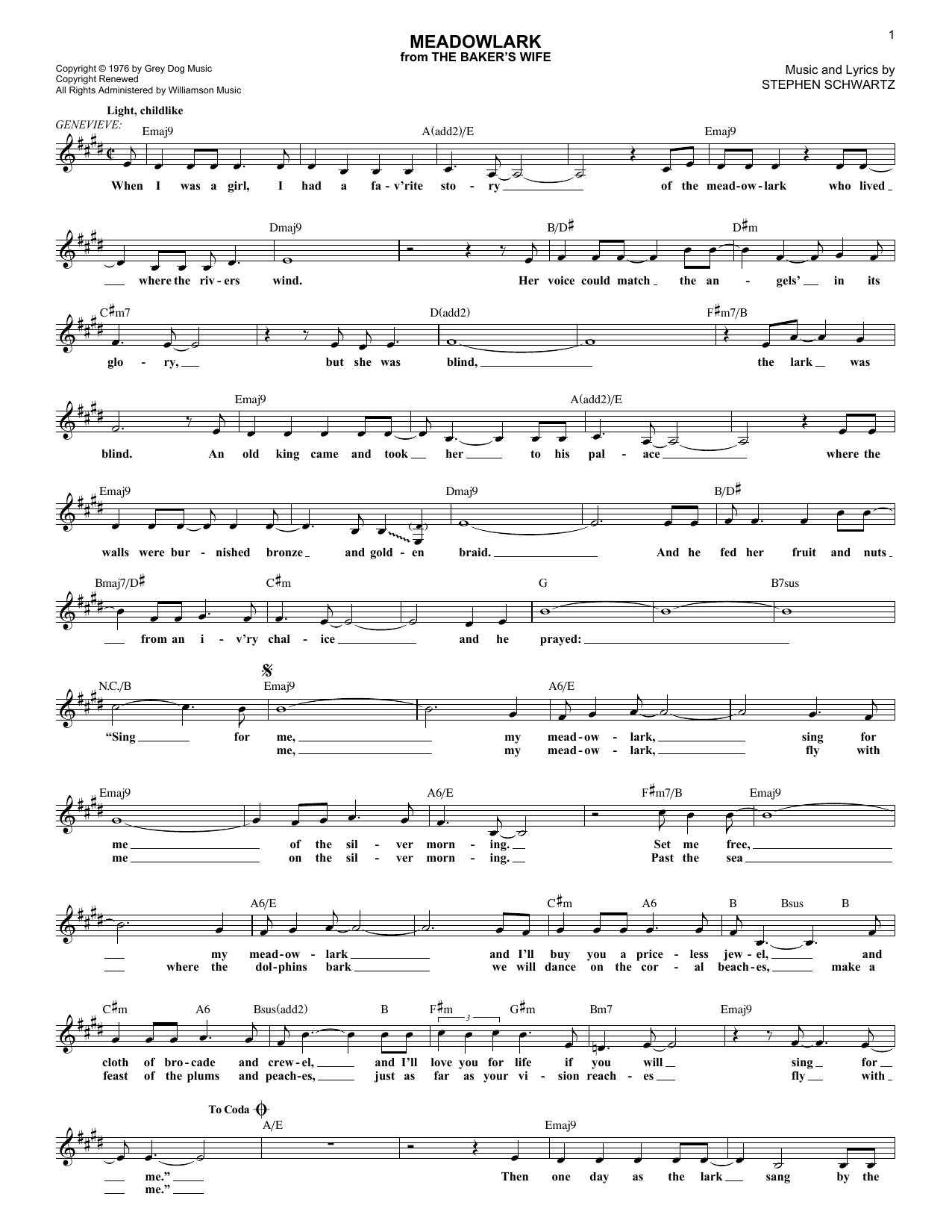 Meadowlark (Lead Sheet / Fake Book)