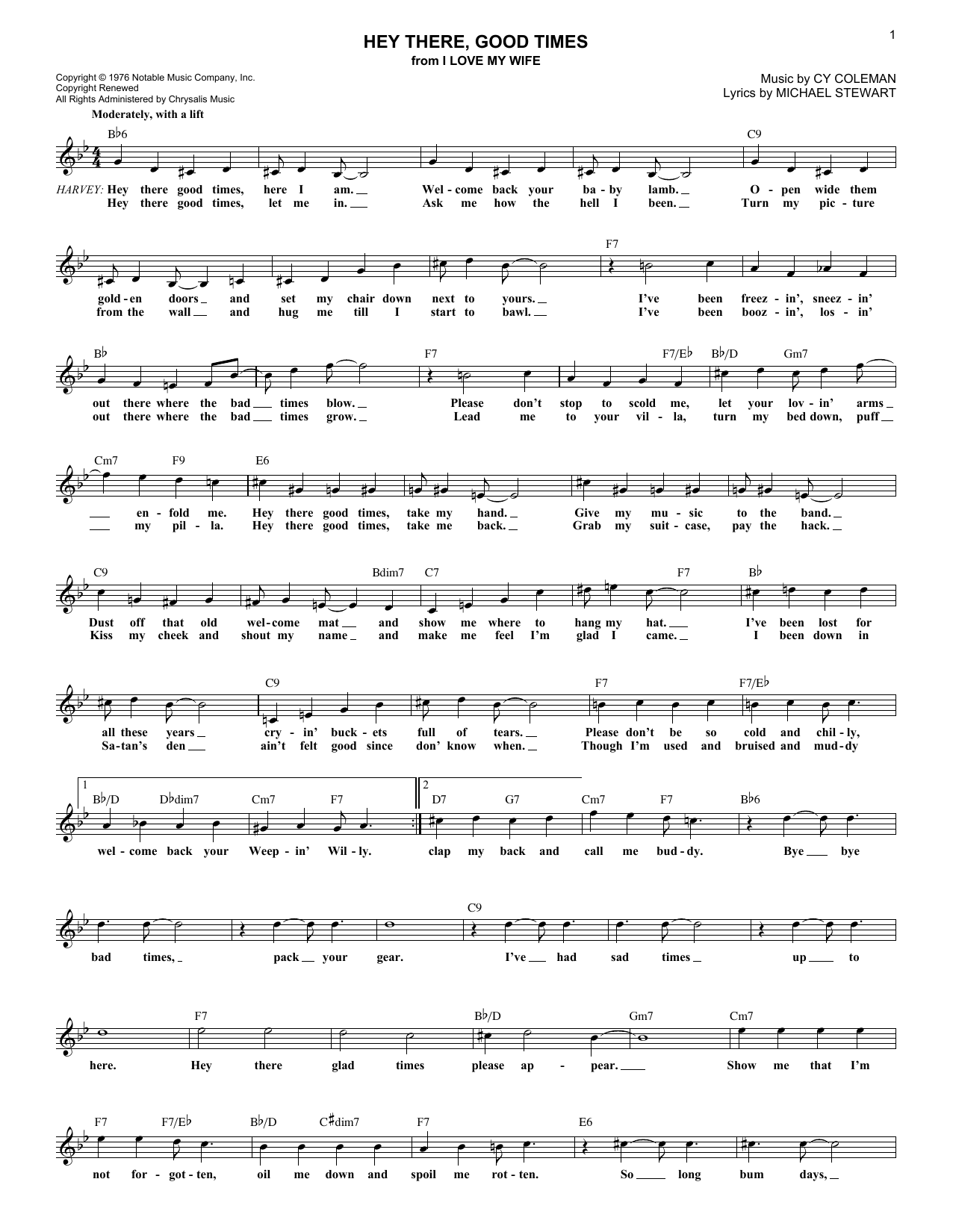 Hey There, Good Times (Lead Sheet / Fake Book)