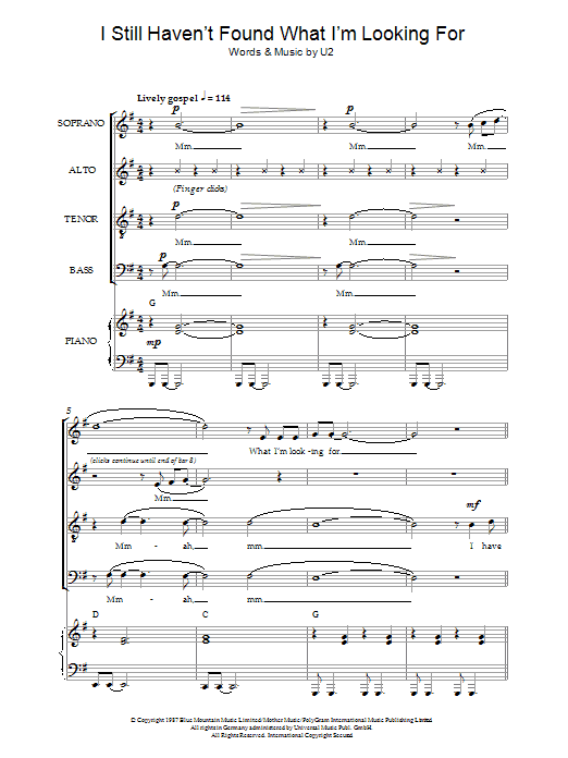 I Still Haven't Found What I'm Looking For (arr. Jeremy Birchall) (SATB Choir)