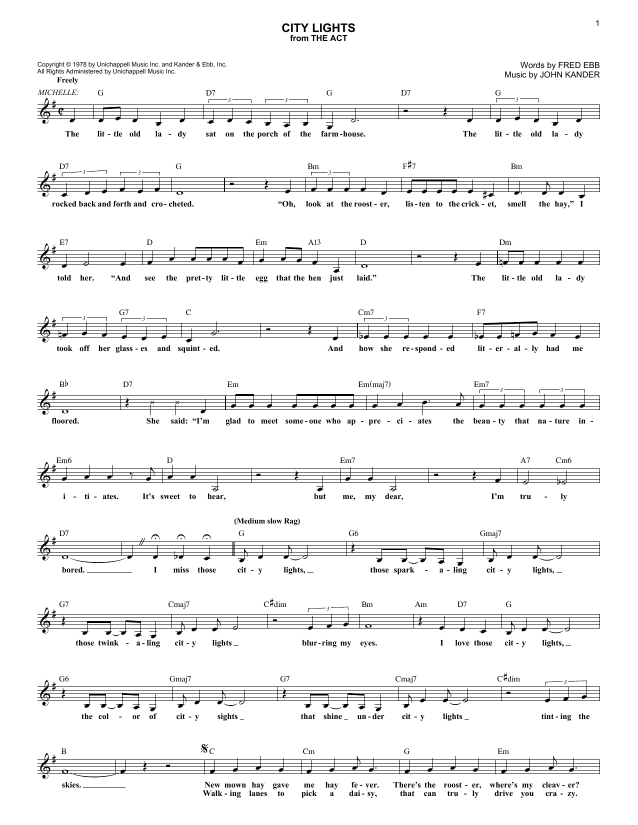 City Lights Sheet Music Kander Ebb Melody Line Lyrics Chords