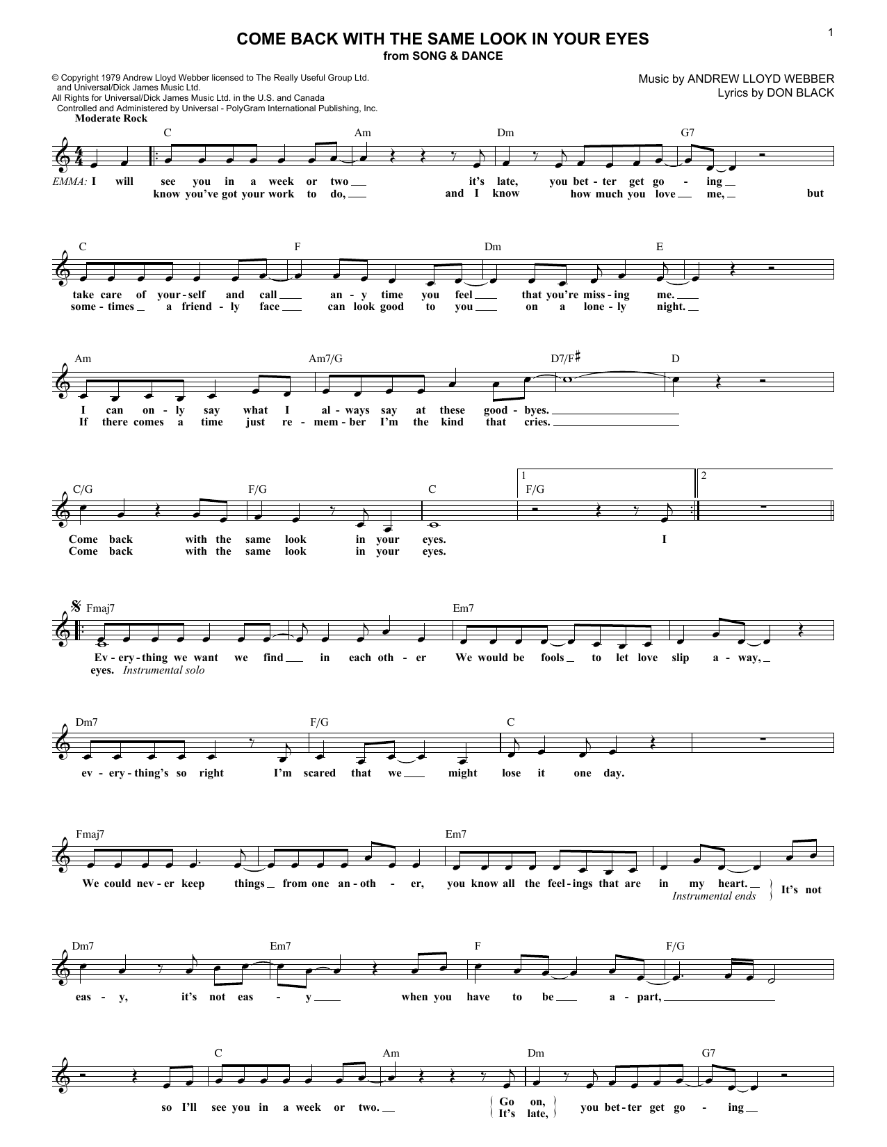Come Back With The Same Look In Your Eyes (Lead Sheet / Fake Book)