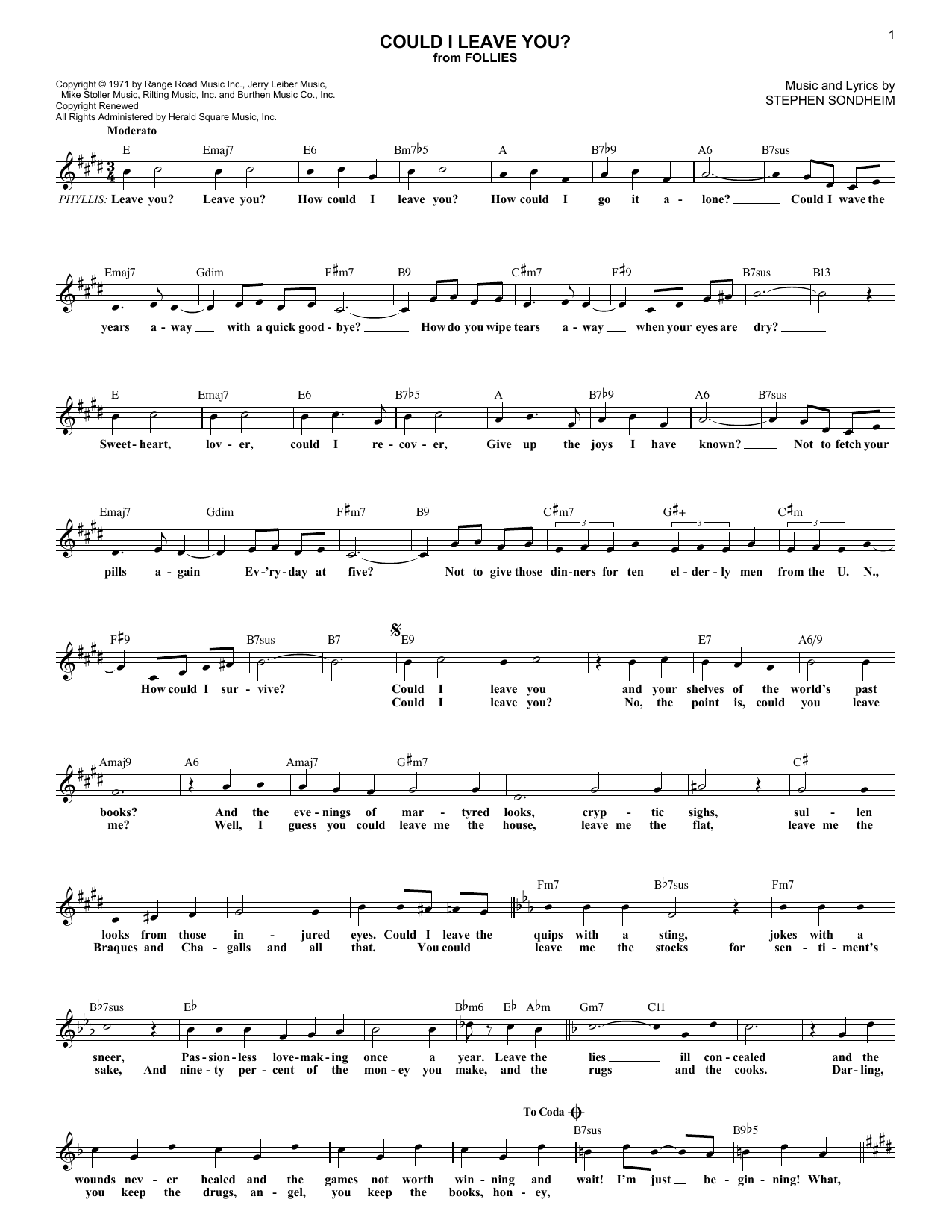 Could I Leave You? (Lead Sheet / Fake Book)