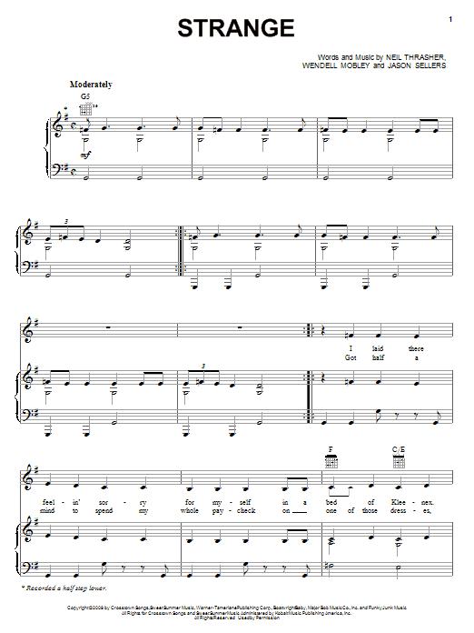 Partition piano Strange de Reba McEntire - Piano Voix Guitare (Mélodie Main Droite)