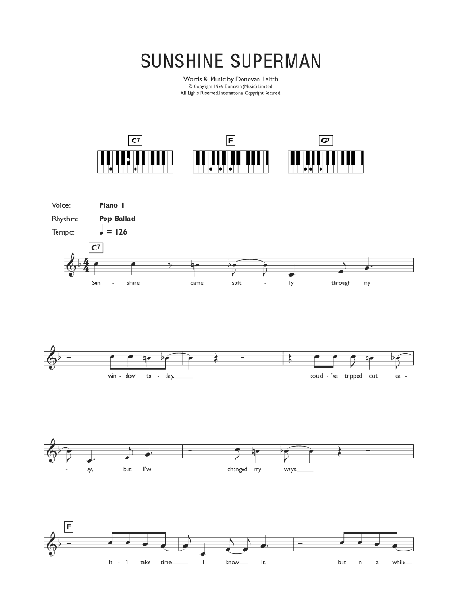 Sunshine Superman (Piano Chords/Lyrics)