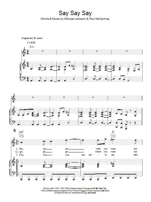 Say Say Say (Piano, Vocal & Guitar)