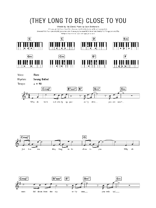 (They Long To Be) Close To You Sheet Music