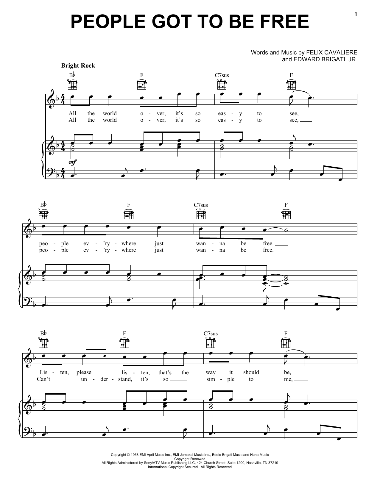 Partition piano People Got To Be Free de The Rascals - Piano Voix Guitare (Mélodie Main Droite)