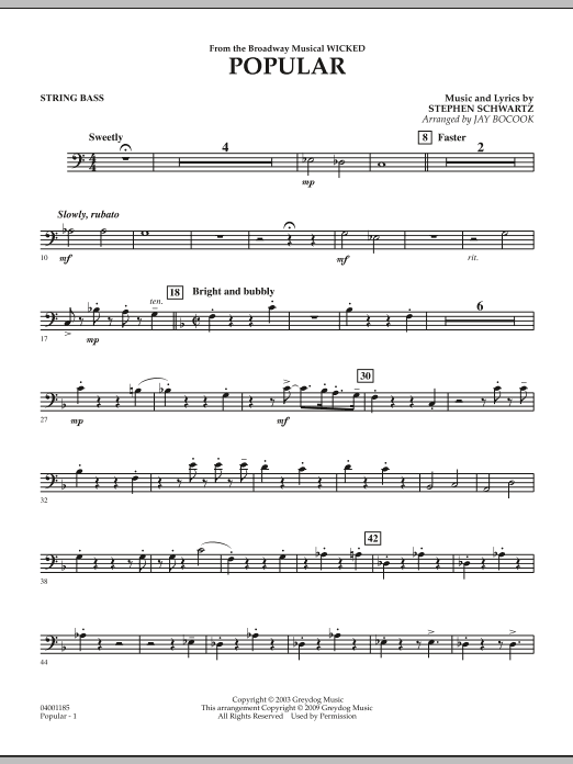 """Popular (from """"Wicked"""") - String Bass (Concert Band)"""