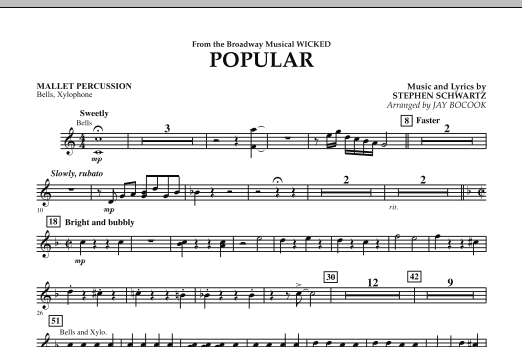 "Popular (from ""Wicked"") - Mallet Percussion (Concert Band)"