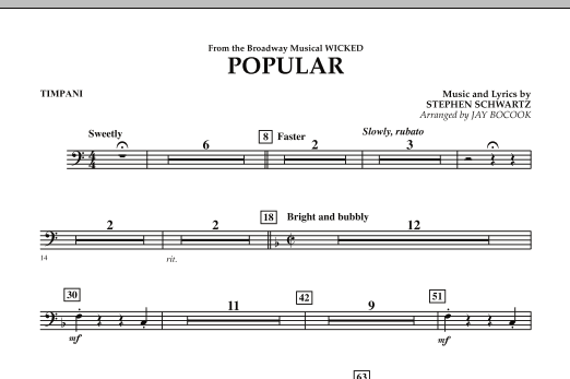 "Popular (from ""Wicked"") - Timpani (Concert Band)"