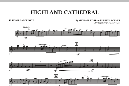 Highland Cathedral - Bb Tenor Saxophone (Concert Band)