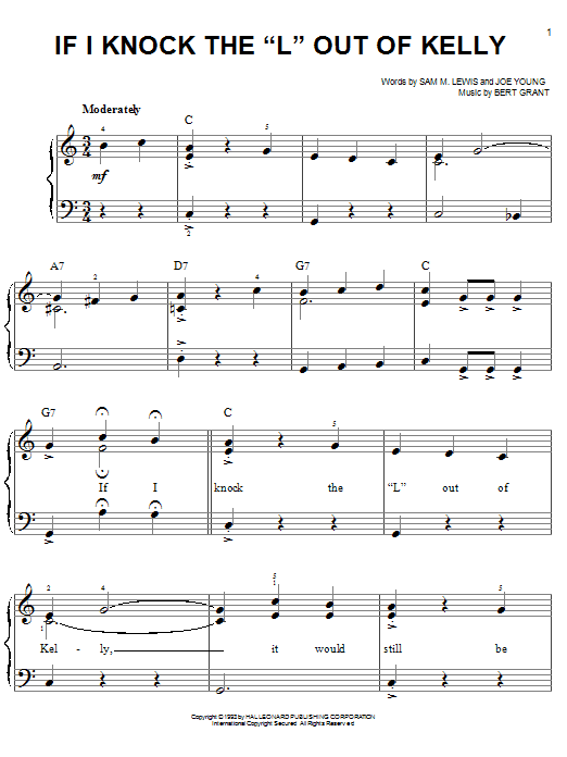 If I Knock The 'L' Out Of Kelly Sheet Music
