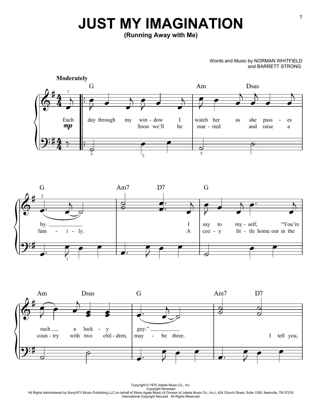 Just My Imagination (Running Away With Me) Sheet Music