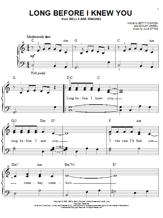 Long Before I Knew You Sheet Music