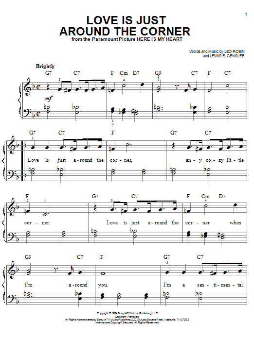 Partition piano Love Is Just Around The Corner de Bing Crosby - Piano Facile