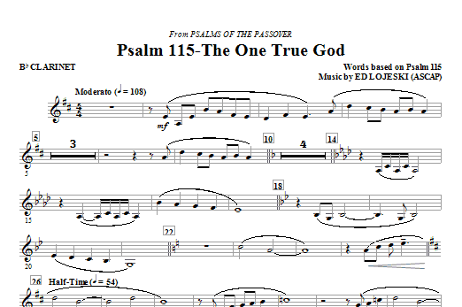 Psalm 115: The One True God - Bb Clarinet Sheet Music