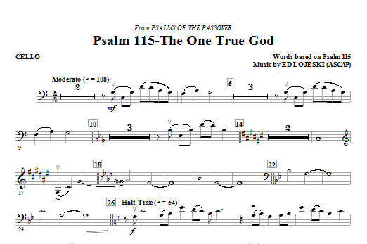 Psalm 115: The One True God - Cello Sheet Music