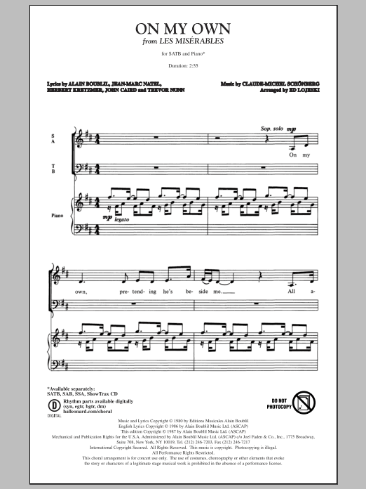 Partition chorale On My Own de Ed Lojeski - SATB