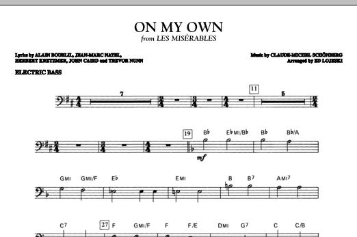 On My Own (from Les Miserables) (arr. Ed Lojeski) - Electric Bass (Choir Instrumental Pak)