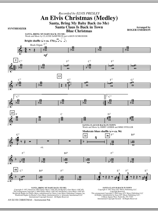 An Elvis Christmas (Medley) (complete set of parts) sheet music for orchestra/band (Rhythm) by Roger Emerson and Elvis Presley. Score Image Preview.