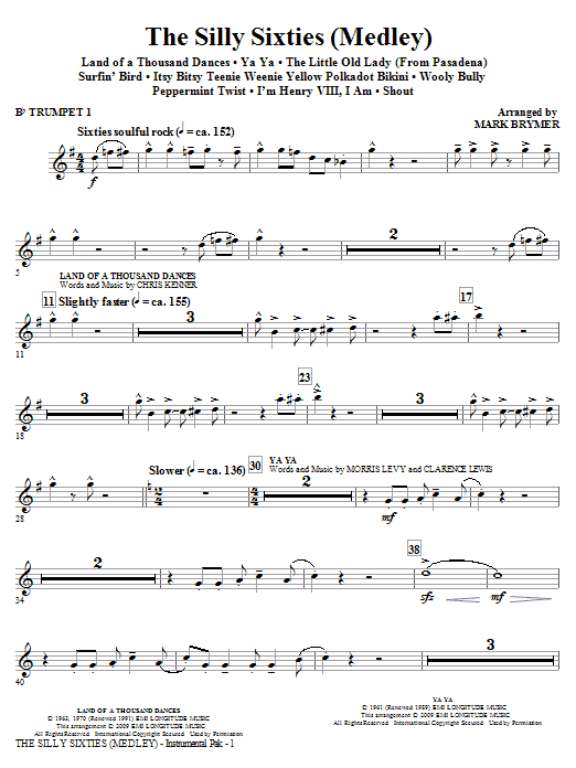 The Silly Sixties (Medley) (complete set of parts) sheet music for orchestra/band (chamber ensemble) by Mark Brymer. Score Image Preview.