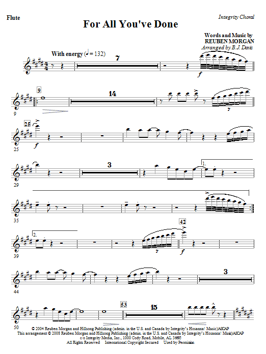 For All You've Done - Flute Sheet Music