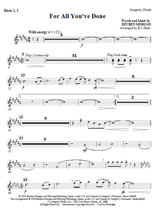 For All You've Done - Horn 1 & 2 Sheet Music