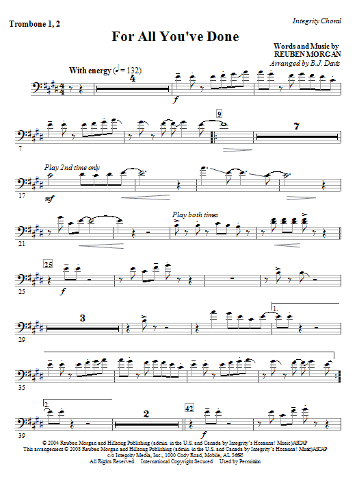 For All You've Done - Trombone 1 & 2 Sheet Music