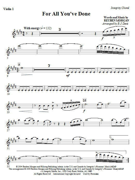 For All You've Done - Violin 2 Sheet Music